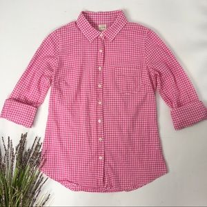 J. Crew Factory | Pink Gingham Perfect Shirt